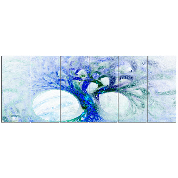 Design Art Blue Mystic Psychedelic Tree Abstract Wall Art Canvas - 6 Panels