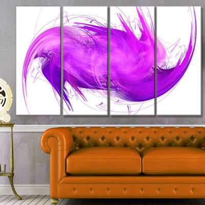 Designart Abstract Purple Fractal Pattern AbstractWall ArtCanvas - 4 Panels