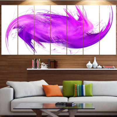Designart Abstract Purple Fractal Pattern PurpleAbstract Wall Art Canvas - 5 Panels