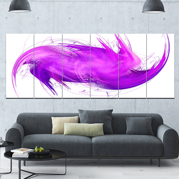 Designart Abstract Purple Fractal Pattern AbstractWall ArtCanvas - 6 Panels