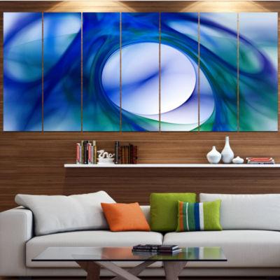Designart Mystic Blue Fractal Contemporary Wall Art Canvas -5 Panels