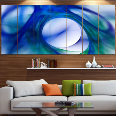 Mystic Blue Fractal Abstract Wall Art Canvas - 7 Panels