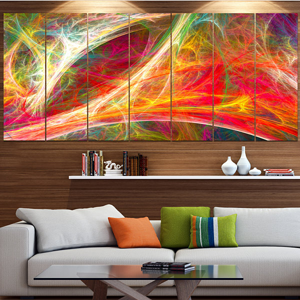 Designart Mystic Red Fractal Abstract Wall Art Canvas - 6 Panels