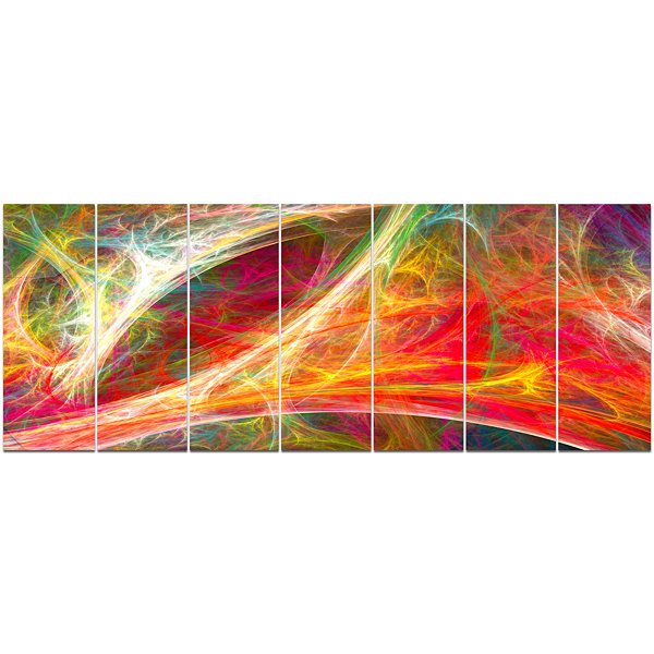 Designart Mystic Red Fractal Abstract Wall Art Canvas - 7 Panels