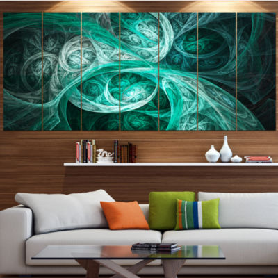 Designart Mystic Turquoise Fractal Contemporary Wall Art Canvas - 5 Panels