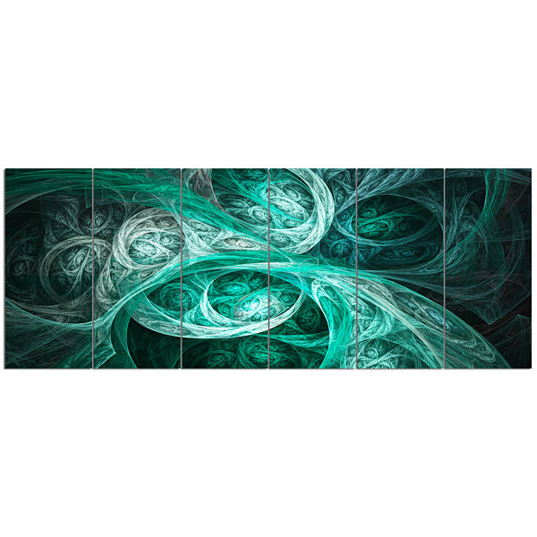 Designart Mystic Turquoise Fractal Abstract WallArt Canvas- 6 Panels