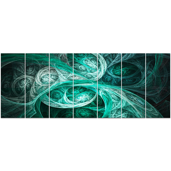 Designart Mystic Turquoise Fractal Abstract WallArt Canvas- 7 Panels