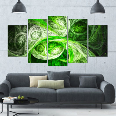 Designart Mystic Green Fractal Contemporary CanvasArt Print- 5 Panels