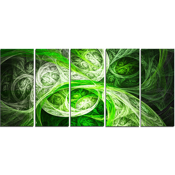 Designart Mystic Green Fractal Abstract Canvas ArtPrint - 5Panels