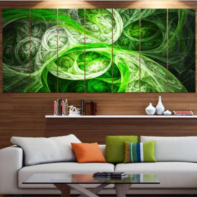 Designart Mystic Green Fractal Abstract Canvas ArtPrint - 7Panels
