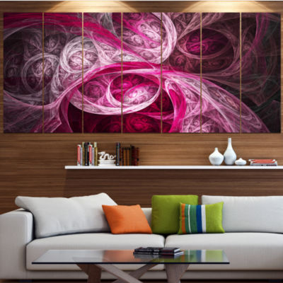 Designart Mystic Pink Fractal Contemporary Wall Art Canvas -5 Panels