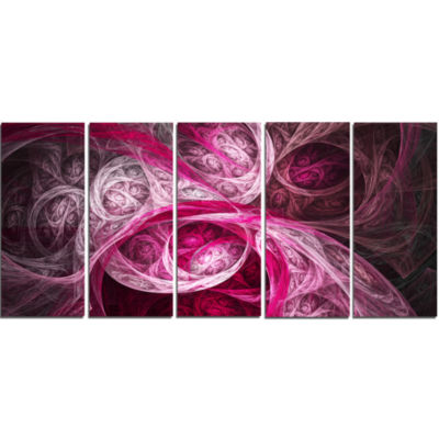 Mystic Pink Fractal Abstract Wall Art Canvas - 5 Panels