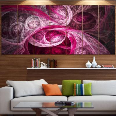 Designart Mystic Pink Fractal Abstract Wall Art Canvas - 7 Panels