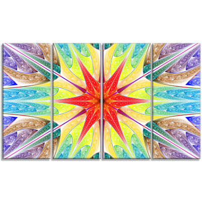 Beautiful Colorful Stained Glass Abstract Wall ArtCanvas - 4 Panels