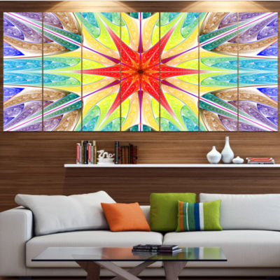 Design Art Beautiful Colorful Stained Glass Contemporary Wall Art Canvas - 5 Panels
