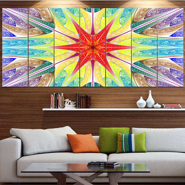 Designart Beautiful Colorful Stained Glass Abstract Wall ArtCanvas - 5 Panels
