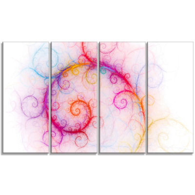 Designart Beautiful Pink Fractal Pattern AbstractWall Art Canvas - 4 Panels