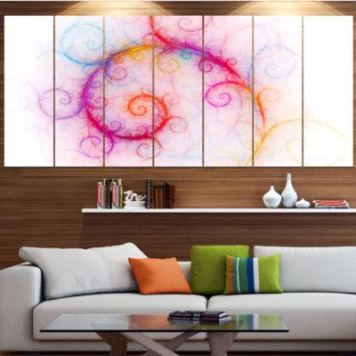 Beautiful Pink Fractal Pattern Abstract Wall Art Canvas - 7 Panels