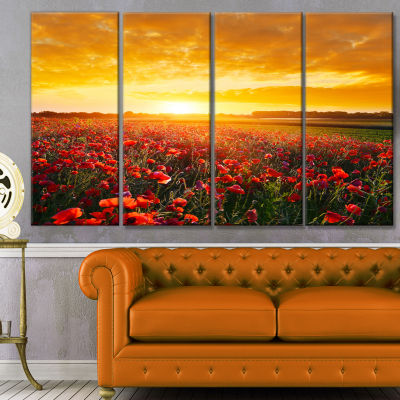 Poppy Field Under Ablaze Sunset Abstract Wall ArtCanvas - 4 Panels