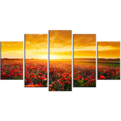 Designart Poppy Field Under Ablaze Sunset Contemporary Wall Art Canvas - 5 Panels