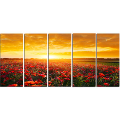 Poppy Field Under Ablaze Sunset Abstract Wall ArtCanvas - 5 Panels