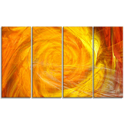 Designart Mystic Abstract Fractal Rose Abstract Wall Art Canvas - 4 Panels