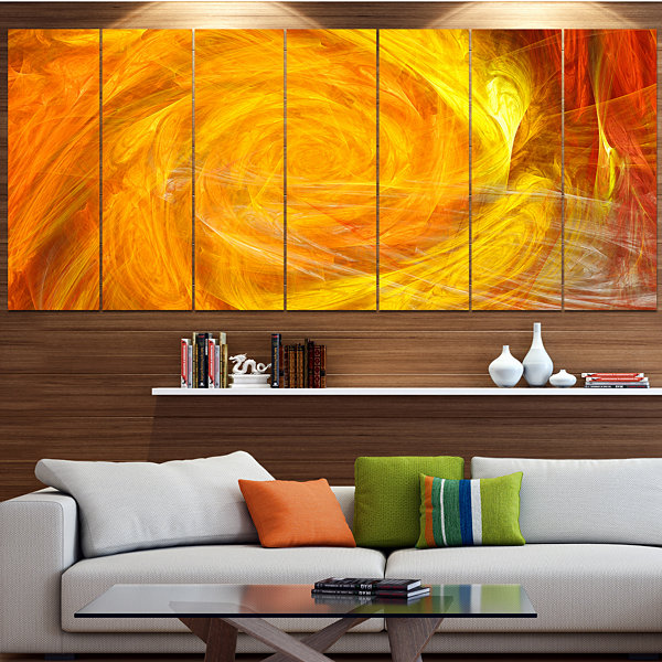 Designart Mystic Abstract Fractal Rose Abstract Wall Art Canvas - 7 Panels