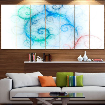 Beautiful Blue Fractal Pattern Abstract Wall Art Canvas - 4 Panels
