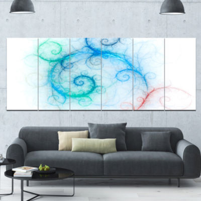 Beautiful Blue Fractal Pattern Abstract Wall Art Canvas - 6 Panels