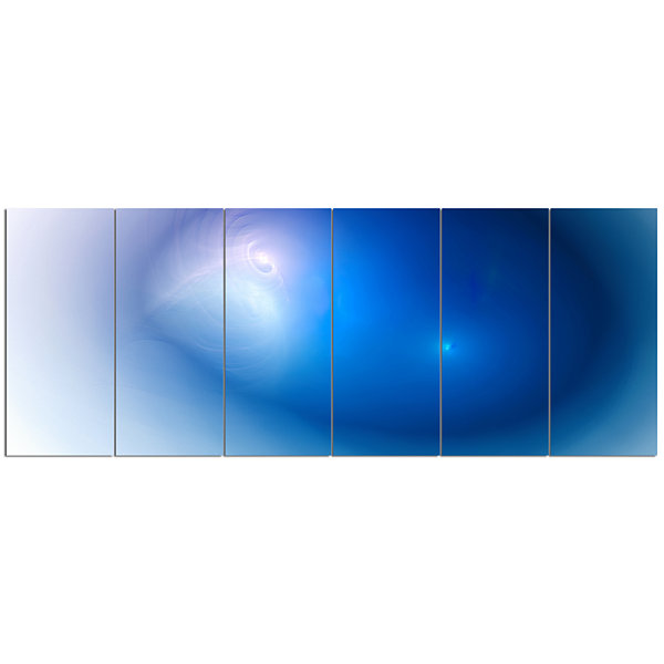 Design Art Mysterious Blue Fractal Texture Abstract Wall Art Canvas - 6 Panels