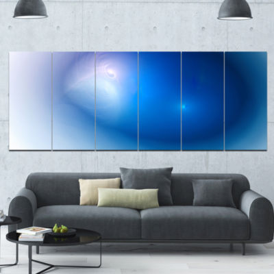 Mysterious Blue Fractal Texture Abstract Wall ArtCanvas - 6 Panels