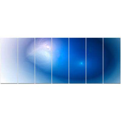 Designart Mysterious Blue Fractal Texture AbstractWall Art Canvas - 7 Panels