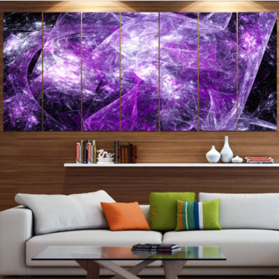 Designart Mystic Purple Fractal Contemporary WallArt Canvas- 5 Panels