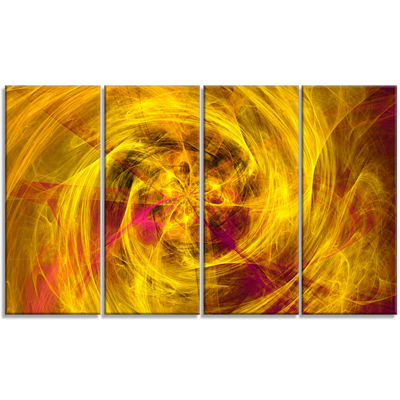 Designart Mystic Golden Fractal Abstract Wall ArtCanvas - 4Panels