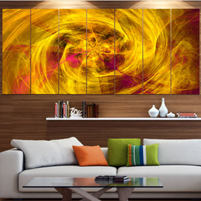 Designart Mystic Golden Fractal Abstract Wall ArtCanvas - 7Panels