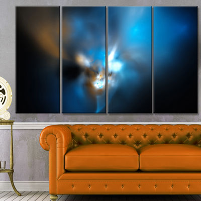 Designart Mystic Green Fractal Abstract Wall ArtCanvas - 4Panels