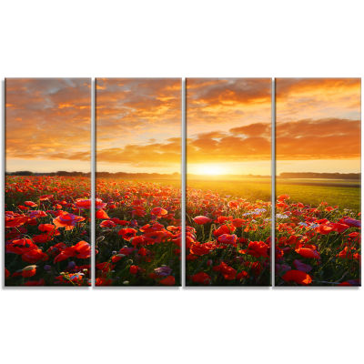Beautiful Poppy Field At Sunset Abstract Wall ArtCanvas - 4 Panels