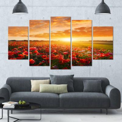 Designart Beautiful Poppy Field At Sunset AbstractWall ArtLarge Canvas - 5 Panels