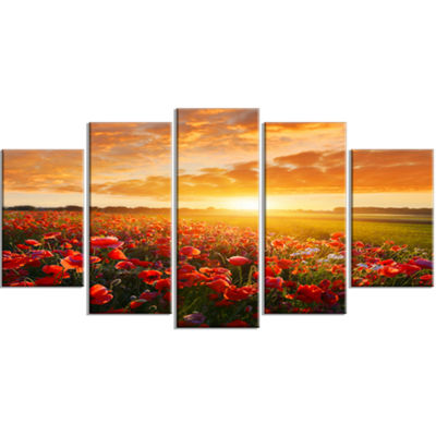 Designart Beautiful Poppy Field At Sunset AbstractWall ArtLarge Canvas - 5 Panels