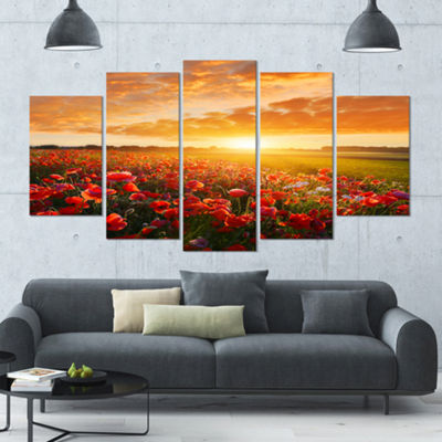Designart Beautiful Poppy Field At Sunset AbstractWall ArtCanvas - 5 Panels