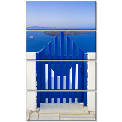 Designart Santorini View To Volcano Abstract WallArt Canvas- 4 Panels