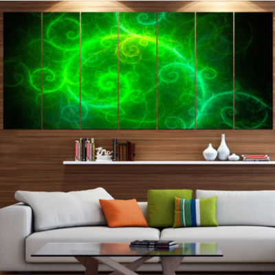 Design Art Beautiful Green Pattern On Black Contemporary Wall Art Canvas - 5 Panels