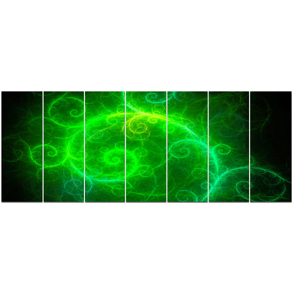 Designart Beautiful Green Pattern On Black Abstract Wall ArtCanvas - 7 Panels