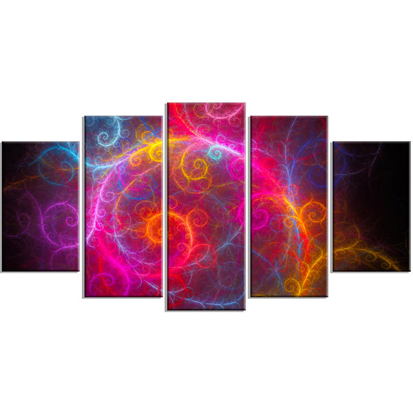 Design Art Beautiful Pink Pattern On Black Contemporary Wall Art Canvas - 5 Panels