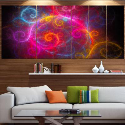 Designart Beautiful Pink Pattern On Black AbstractWall ArtCanvas - 7 Panels