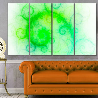 Beautiful Bright Green Pattern Abstract Wall Art Canvas - 4 Panels