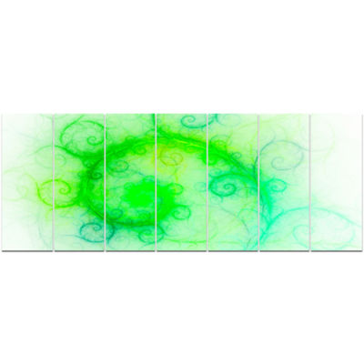 Designart Beautiful Bright Green Pattern AbstractWall Art Canvas - 7 Panels