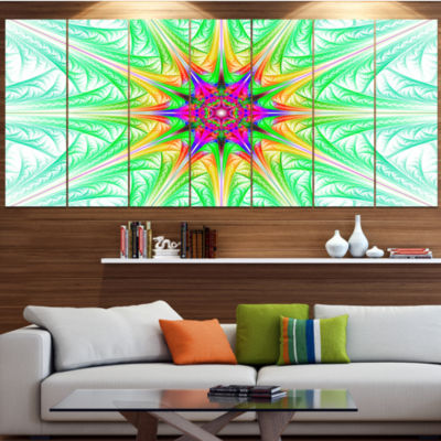 Designart Green Fractal Stained Glass Abstract Wall Art Canvas - 4 Panels