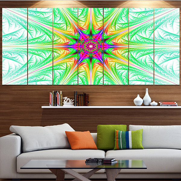 Designart Green Fractal Stained Glass ContemporaryWall Art Canvas - 5 Panels