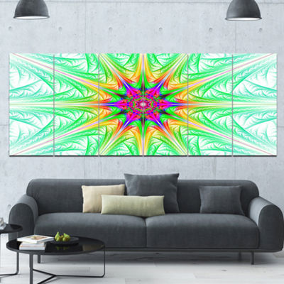 Designart Green Fractal Stained Glass Abstract Wall Art Canvas - 6 Panels